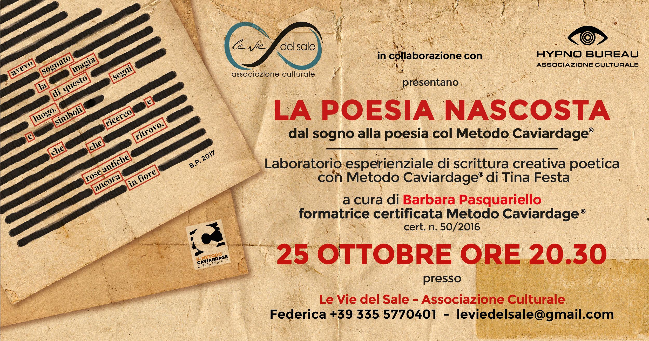 l laboratorio di Metodo Caviardage® - Hypno Bureau in collaborazione con Le Vie del Sale
